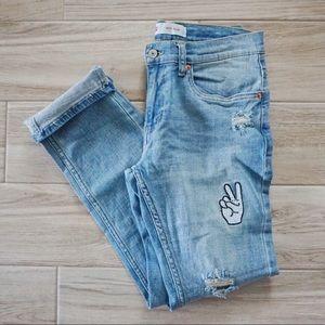Levis 511 Slim Embroidered Appliqué Jeans 28 x 28